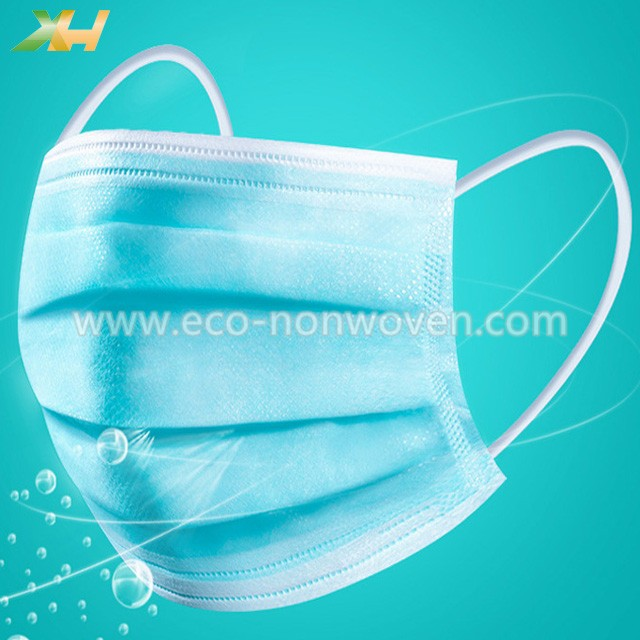 Disposable Breathable 3 PLY PP Spunbond Nonwoven Face Mask