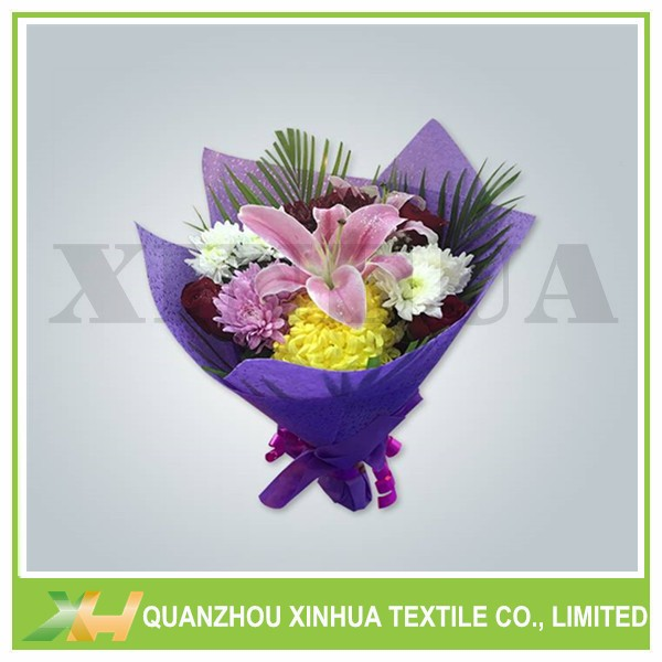 Leather embossing non woven flower wrapping paper