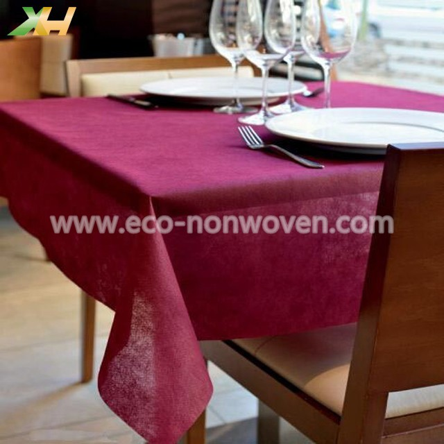 Eco-friendly colorful one time nonwoven tablecloth pp spunbond