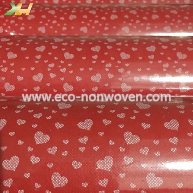 Heart design printing pp spunbond non woven fabric for flower wrapping