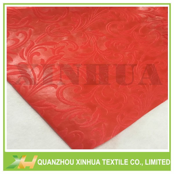 Moonflower non woven embossing in red color