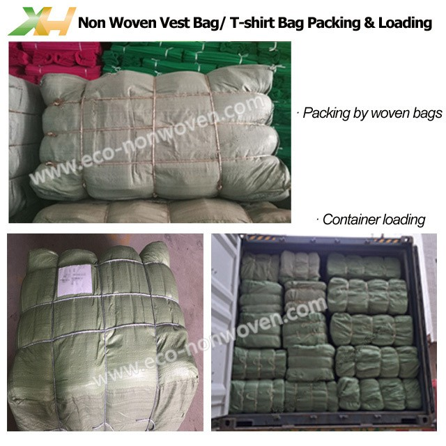 Cheap price colorful stocklot non woven t-shirt bag/ non woven vest bag