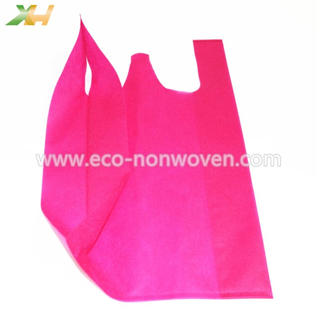 Eco-friendly Plum Color PP Spunbond Non-woven Vest Bag