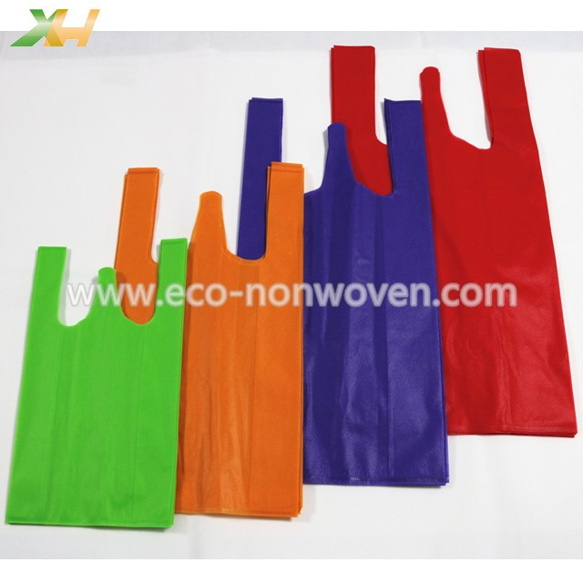 Kenya cheap price polypropylene 40gsm nonwoven vest bag/non-woven t-shirt bag